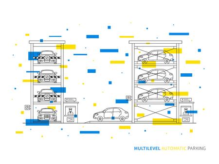 Multilevel parking terminal, slot, transportation linear vector illustration. Multilevel parking building creative graphic concept. Multilevel parking graphic design. Illustration
