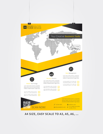 advert: Poster layout vector illustration. Flyer template advertising design. Leaflet layout creative concept, A4 size, ready to print. Advert banner page.