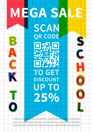 qrcode: Back to school Mega Sale scan QR code vector banner. Advertising template Mega Sale for school, college, university. Flyer graphic design. Modern typography marketing template A4 size, ready to print. Illustration