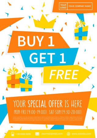 홍보 배너 구매 1 무료 벡터 일러스트를 얻으십시오. 특별 제공 광고 포스터 디자인. 프로모션 전단지 1 개 구매시 1 개의 무료 창의적인 개념을 얻으십시오. A4 크기. 프린트 할 준비가되었다. 스톡 콘텐츠 - 66325235