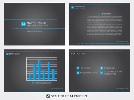 template: Marketing kit presentation vector template. Modern business presentation creative design. Power layout with diagrams and charts. Marketing kit visualization template. Easy to use, edit and print.
