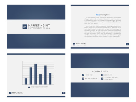Marketing kit presentation vector template. Modern business presentation creative design. Power layout with diagrams and charts. Marketing kit visualization template. Easy to use, edit and print.
