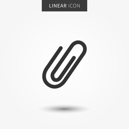 Attachment icon vector illustration. Isolated attach symbol. Paper clip line concept. Staple graphic design. Attachment outline symbol for app. Paperclip pictogram on grey background. Illustration