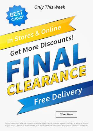 clearence: Banner Final Clearance vertical vector illustration on grey background. Final Clearance creative concept with sample text for online shop, retail store, advertising, poster, banner. Illustration