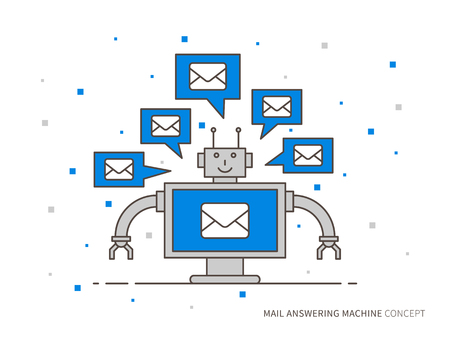 answering: Mail answering machine vector illustration. Mail support technology creative concept. Online automatic operator graphic design. Client assistance helpdesk concept.