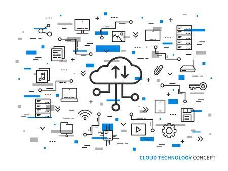 storage: Web cloud storage vector illustration on colorful background. Web cloud technology graphic design. Remote file storage creative concept. Line data storage application concept.