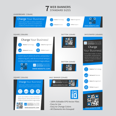 Advertising web banner vector template with dark grey and blue colors. Standard size ad web banners set. Modern ad web banner template design. Standard size website banner concept for corporate advertising. Ilustrace