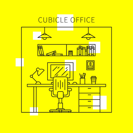 stylish chair: Cubicle office with furniture and equipment lamp, desktop, table, chair vector illustration. Individual workplace creative concept. Stylish office interior graphic design.