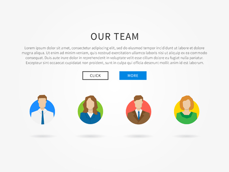 our company: Our team webpage template with colorful avatars vector illustration. Company team webpage template creative concept.