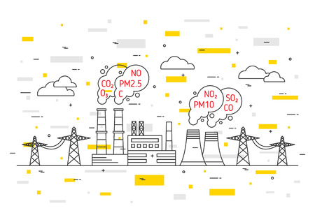 Air pollution vector illustration. Electric power station and toxic smog, smoke, fog concept. Coal electricity industry with hazardous elements co2, dioxide, carbon, no, no2, pm10 graphic design. Ilustrace