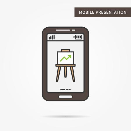 presentation screen: Linear mobile presentation app. Flat phone graph chart app. Mobile web presentation technology symbol. Creative mobile slide diagram graphic design. Vector infochart software illustration.