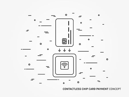 technology transaction: EMV chip card square contactless reader vector linear illustration. Secure transaction emv chip card creative concept. Emv card wireless payment money transfer technology graphic design. Illustration