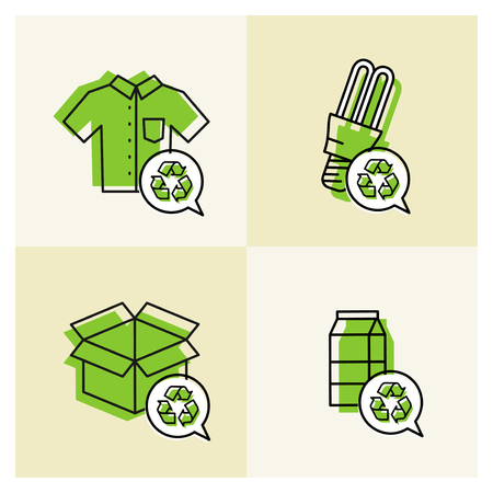 recyclable: Goods with recyclable signs vector illustration. Clothes, energy-saving lamp, package box, cardboard package elements with recyclable labels.