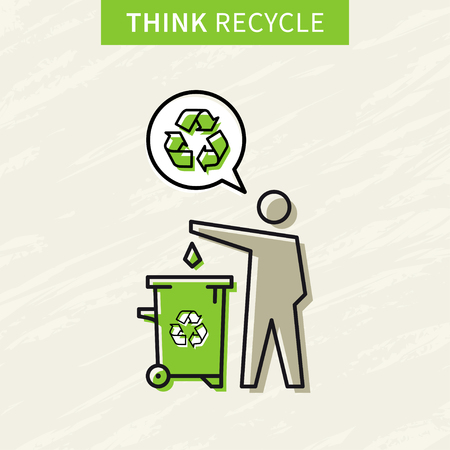 rubbish bin: A man drops garbage into a rubbish bin vector illustration. Creative concept with recycle sign. Illustration