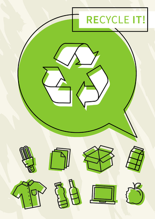 abstract recycle arrows: Recycle it vector poster. Recycle symbol with recyclable things creative illustration.