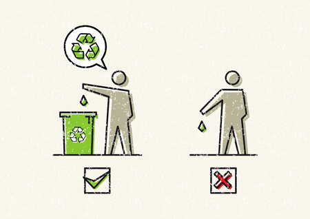 botar basura: Man drops garbage vector illustration. Silhouettes of a man, who throws garbage in a bin and on the ground graphic design. No littering signs creative concept. Vectores