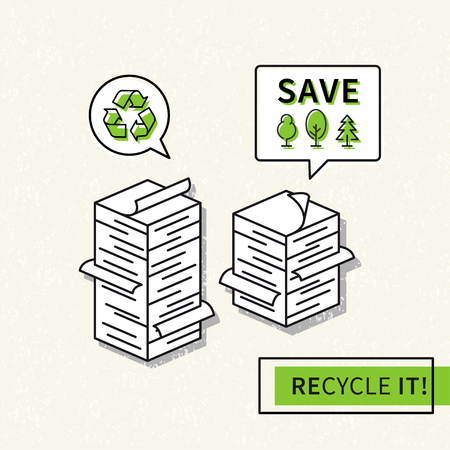 magazine stack: Paper recycling vector illustration. Big stacks of papers with recycle sign graphic design. Ecological paper recycling creative concept.