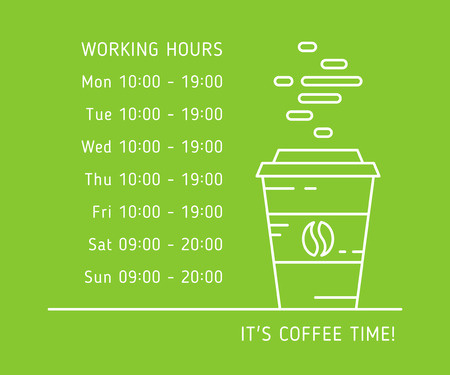 operation for: Coffee time working hours linear vector illustration on green background. Coffee store, house, shop hours of operation creative graphic concept. Graphic design template for restaurant, cafe, banner.