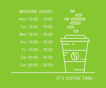 Coffee werktijd lineaire vector illustratie op groene achtergrond. Koffie winkel, woning, winkel werkuren creatieve grafische concept. Grafisch ontwerp sjabloon voor restaurant, cafe, banner.