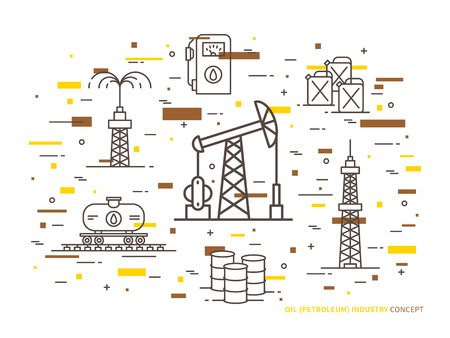 Oil production linear vector illustration with oil derrick, petrolium, fuel, gasoline, barrel, petrol tower. Oil production creative graphic concept with colorful elements. Illustration