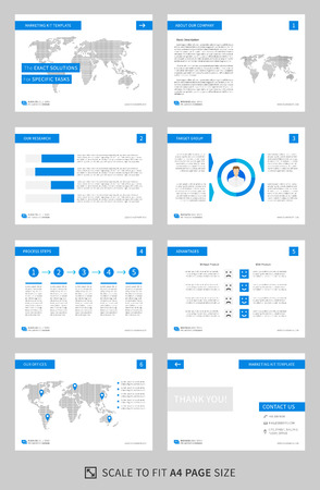 Marketing kit presentation vector template. Modern business presentation graphic design. Power point layout with diagrams and charts. Marketing kit visualization template. Easy to use, edit and print. Illustration