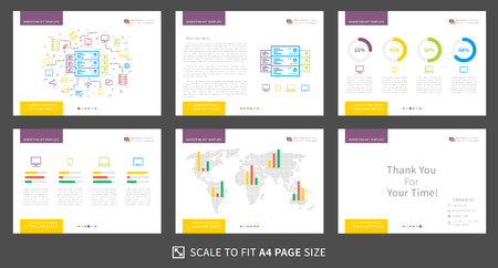 Corporate presentation vector template. Modern business presentation graphic design. Power point layout with diagrams and charts. Marketing kit visualization template. Easy to use, edit and print.