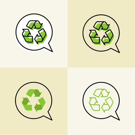 reciclable: Recycle vector signs. Recyclable symbols graphic design.
