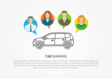 Car sharing vector illustration. Car to share graphic design. Transport renting service creative concept. Group of people with shared car and sample text.