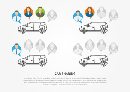 shared sharing: Car sharing vector illustration. Car to share graphic design. Transport renting service creative concept. Colorful and grey avatars of people with shared car and sample text.