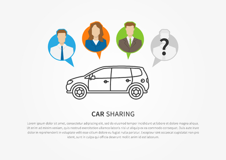 shared sharing: Car sharing vector illustration. Car to share graphic design. Transport renting service creative concept. Colorful and grey silhouettes of people with shared car and sample text.