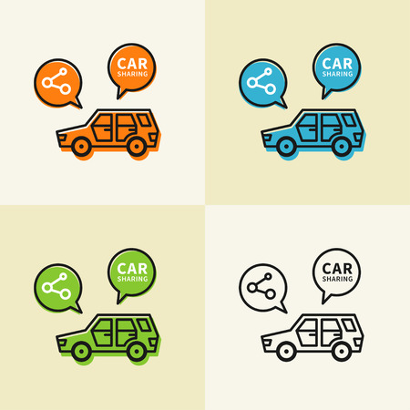 renting: Car sharing vector illustration. Car to share linear graphic design. Transport renting service creative concept.
