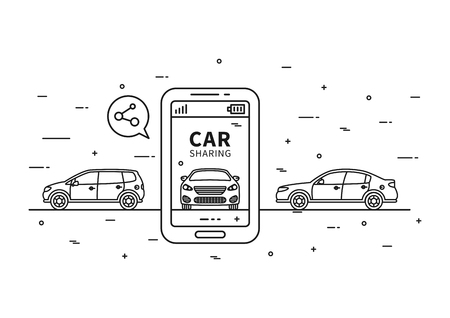 shared sharing: Car sharing vector illustration. Car to share graphic design. Transport renting service creative concept. Group of people with shared car and sample text.