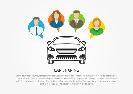 車共有のベクター イラストです。直線的なグラフィック デザインを共有する車。トランスポート借りるサービス創造的な概念。  イラスト・ベクター素材