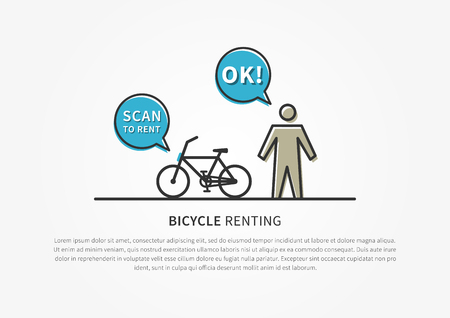 Bicycle renting vector illustration. Scan to rent bicycle creative concept. Bike for renting, sharing graphic design.