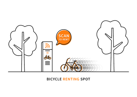 eco tourism: Bicycle renting spot vector illustration. Scan to rent bicycle creative concept. Bike for renting, sharing graphic design. Illustration
