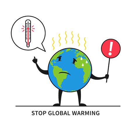 Stop global warming vector illustration. Planet earth feels hot graphic design. Globe with exclamation, warning mark and thermometer creative concept.