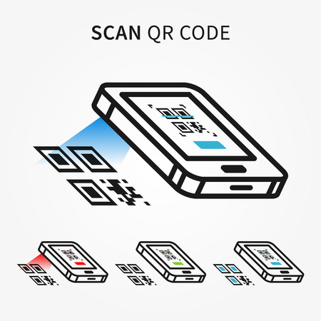 qrcode: Scan QR code with smartphone vector illustration. Electronic technology to scan qrcode creative concept. Mobile scanner graphic design.