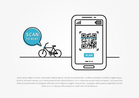 Fiets die en vectorillustratie delen huren. App om QR-code te downloaden en te scannen om een ??openbare fiets te huren. Telefoontoepassing voor het huren van fiets creatief concept.