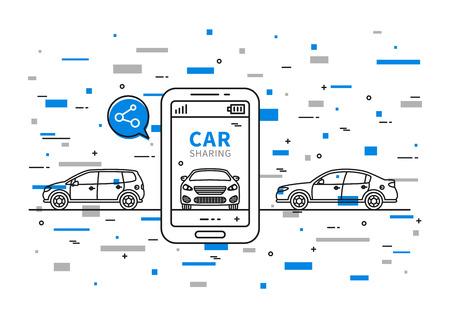 Compartir coche ilustración vectorial con elementos de colores. Coche para compartir diseño gráfico. Transporte concepto de alquiler de servicio creativo. Grupo de personas con coche compartido y texto de ejemplo. Ilustración de vector