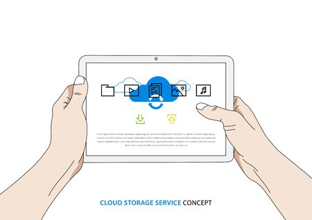 Cloud service on tablet vector illustration. Person holds tablet with cloud storage app on the screen creative concept. Access to wireless interface to transfer data to remote servers graphic design.