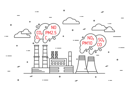 Factory pollutes atmosphere vector illustration.