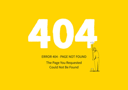 Error 404 page with a painter illustration.