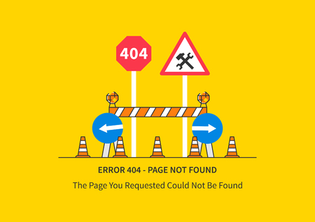 Error 404 page with road construction signs illustration.