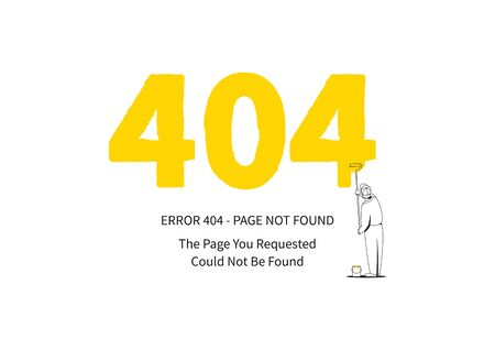 colourer: Error 404 page with a painter vector illustration on white background. Broken web page graphic design. Error 404 page not found creative template.