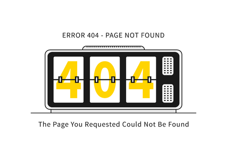 colourer: Error 404 page with alarm clock vector illustration on white background. Broken web page graphic design. Alarm clock show 404 numbers. Error 404 page not found creative template.