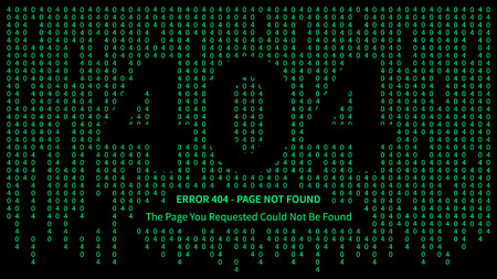colourer: Error 404 page with green numbers vector illustration on black background. Broken web page graphic design. Error 404 page not found creative template.