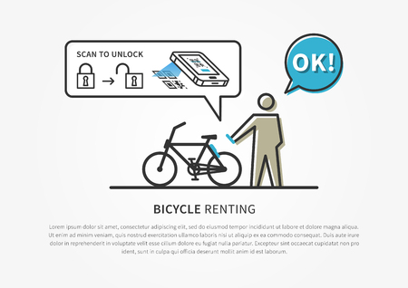 Bicycle renting service app vector illustration with software to scan code