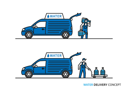 Water delivery vector illustration. Workers with potable water bottles and car graphic design. Illustration