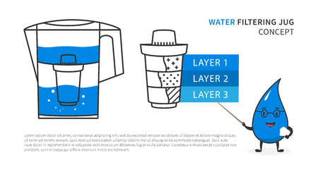 Water filtering jug with drop character vector illustration. Pitcher with changeable cartridge for water filtering graphic design.