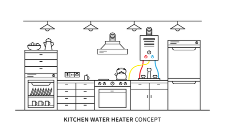 boiler: Kitchen water heater geyser vector illustration. Kitchen interior with domestic boiler graphic design.